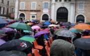 Piazza Roma sotto la pioggia per Caterpillar