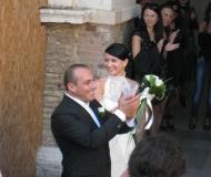 Sposi e Harley Davidson in Piazza Roma