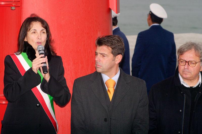 Angeloni - Mangialardi - Spacca durante il discorso d'inaugurazione del porto di mare di Senigallia