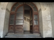 L'ingresso di Palazzo Gherardi, ex-sede del Liceo Classico Perticari
