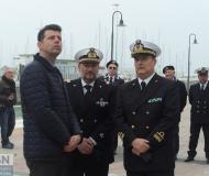 Il sindaco di Senigallia Maurizio Mangialardi, il comandante della Guardia Costiera locale Cristoforo De Giuseppe e il Direttore Marittimo Marche Contrammiraglio Francesco Saverio Ferrara