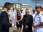 Il sindaco Maurizio Mangialardi, il vescovo di Senigallia, monsignor Giuseppe Orlandoni, e il direttore marittimo delle Marche, Contrammiraglio Francesco Saverio Ferrara
