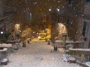 La Scalinata di Corinaldo durante la nevicata