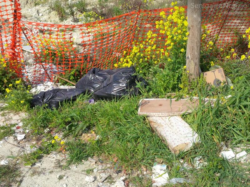 Abbandono di rifiuti sul ciglio della strada