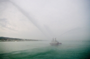 La motonave dei Vigili del Fuoco, esibizione nel porto di mare di Senigallia